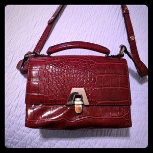 Zara moc croc crossbody bag red